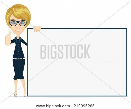 Businesswoman preparing a presentation. Woman pointing to the placard . Vector, Illustration, Flat