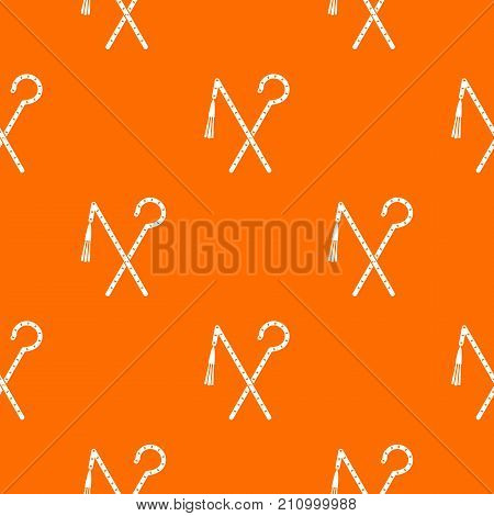 Rod and whip of Pharaoh pattern repeat seamless in orange color for any design. Vector geometric illustration