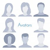 Avatar profile icon collection isolated on white background. Male and female set. Anonymous faceless user. Default person picture. Business vector illustration for your design. poster