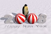 a 3d rendering to celebrate the new year 2008 poster