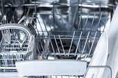 Open dishwasher with clean glass and dishes selective focus Dishwasher after cleaning process poster