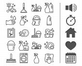 Cleaning line icons. Laundry, Sponge and Vacuum cleaner signs. Washing machine, Housekeeping service and Maid equipment symbols. Window cleaning and Wipe off. Bonus classic signs. Editable stroke poster
