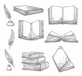 Old books and ancient manuscripts and ink quill or feather pen sketch icons. Obsolete vintage book, antique paper rolls and inkwell for bookshop writing stationery or literature design. Vector set poster