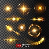 Light flashes, sun beams and star lights isolated icons on transparent background. Vector set of shining beam with lens flare effect or glittering sunlight ray or solar space burst and twinkling light poster