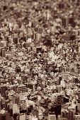 Tokyo urban rooftop view background tilt-shift effect, Japan. poster