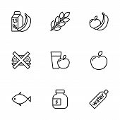 thin line fitness nutrition low-calorie food icons set on white background poster