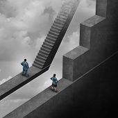Gender discrimination and sexism inequality for being female concept as a woman with the burden of climbing a difficult obstacle and a man with easy path stairs as a 3D illustration symbol as a symbol for unfair gender bias. poster