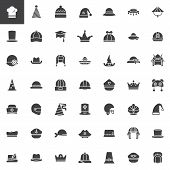 Hat, cap, headdress, headwear vector icons set, modern solid symbol collection, filled pictogram pack. Signs, logo illustration. Set includes icons as chef hat, party hat, pilgrim hat poster