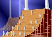 A stairway as a corporate ladder with every next stair is taller and harder to climb poster