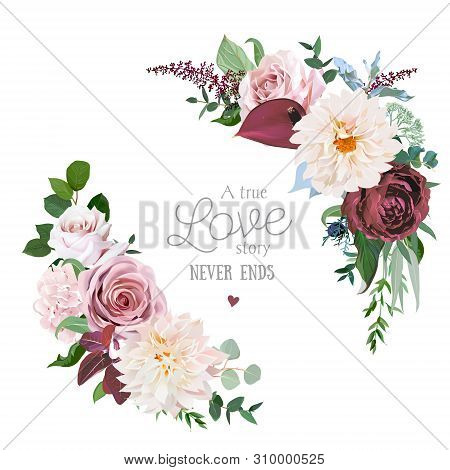 Floral Vector Round Frame Of Cinnamon, Brown, Dusty Pink, Marsala Roses, Dahlia, Burgundy Anthurium