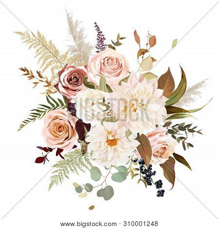 Moody Boho Chic Wedding Vector Bouquet. Warm Fall And Winter Tones. Orange Red, Taupe, Ivory, Brown,