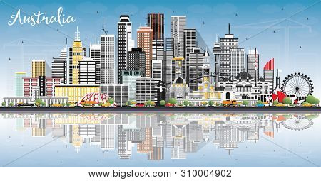 Australia City Skyline with Gray Buildings, Blue Sky and Reflections. Tourism Concept with Historic Architecture. Australia Cityscape with Landmarks. Sydney. Melbourne.