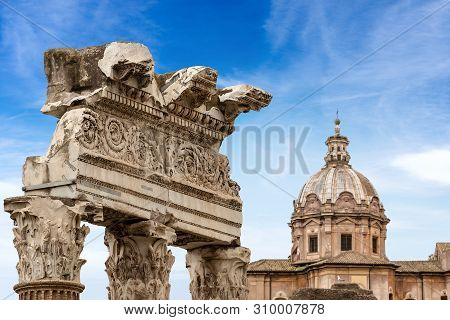 Temple of Venus Genetrix, 46 b.C. with columns and capitals in Corinthian style, and church of the Saints Luca and Martina (1664), Roman Forum, unesco world heritage site, Latium, Italy, Europe poster
