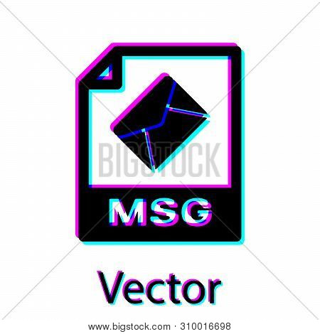 Black Msg File Document Icon. Download Msg Button Icon Isolated On White Background. Msg File Symbol