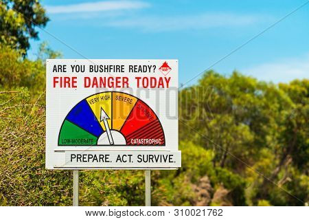 Fire Danger Status And Bush Fire Ready Sign Showing Very High Level