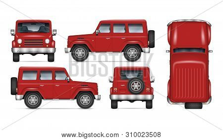 Red Suv Car Vector Mockup For Vehicle Branding, Advertising, Corporate Identity. Isolated Template O