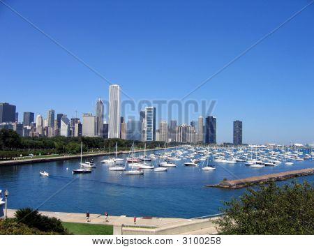 Chicago Skyline And Harbor