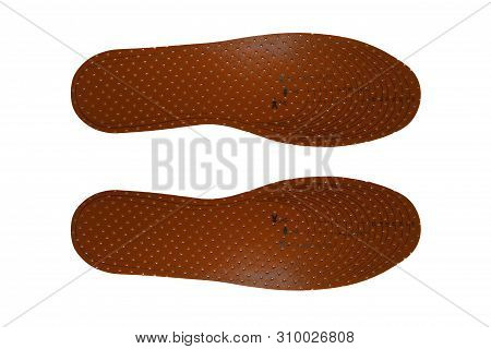 Scented Latex Orthotic Insoles On White Background.