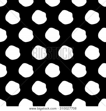 Abstract Spot Background With Hand Drawn Spots. Funny Vector Black And White Spot Background. Seamle