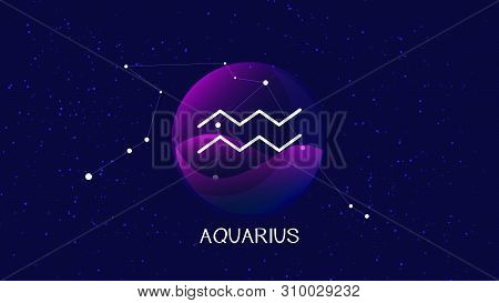 Beautiful And Simple Vector Image Representing Night, Starry Sky With Aquarius Zodiac Constellation