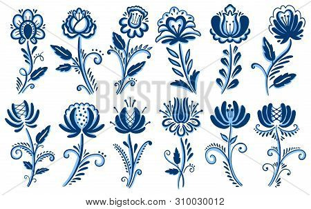 Folk Motif Gzhel Ornament. Traditional Russian Decorative Painting. White And Blue Color.