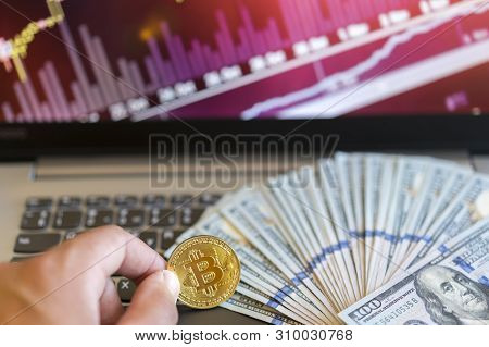 Bitcoin Price Increase Chart. Bitcoins Growth Chart. Bitcoins And New Virtual Money Concept. Growth