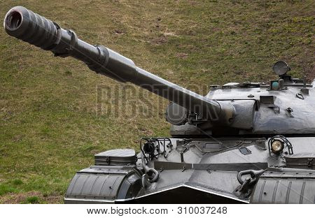 poster of Soviet tank (Second World War period). Historical armoured fighting vehicle.
