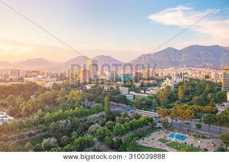 Tirana, Albania - June 2019: Areal View From Sky Tower To Tirana City Center At Sunset Main Sights O
