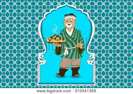 Cartoon Vector Doodle Hand Draw An Uzbek Man Prepares And Invites Pilaf  The National Dish Of Uzbeki