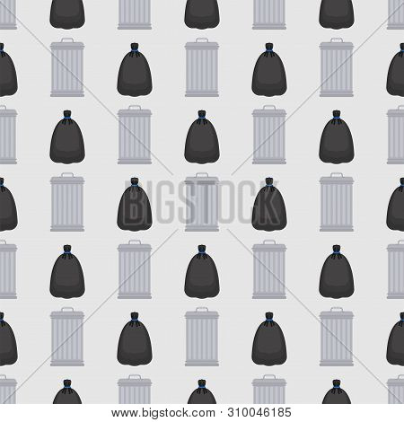 Trashcan And Garbage Bag Pattern Seamless. Trash Can And Black Sack Background. Rubbish Ormanent. Ve