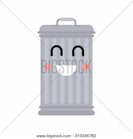 Trashcan Kawaii Isolated. Trash Can Cute. Cartoon Rubbish Bin Vector Illustration