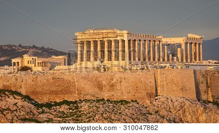 View Of Acropolis From Filopappou Hill In Central Athens.