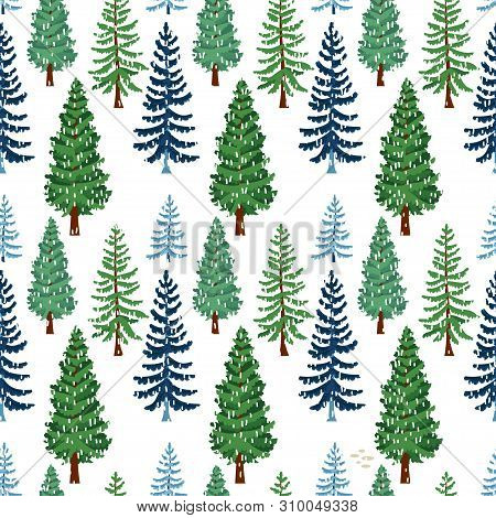 Winter Forest Trees Pattern. A Woodland Background