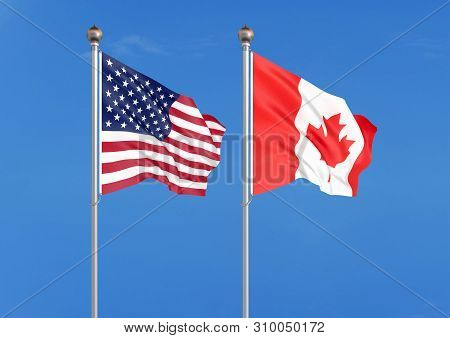 United States Of America Vs Canada. Thick Colored Silky Flags Of America And Canada. 3d Illustration