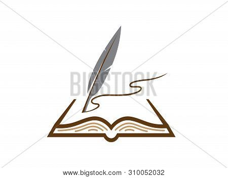 Quill Plume In The Papers Write In An Open Book For Logo Design Illustration