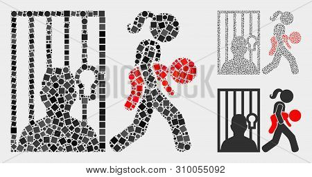 Mosaic Juvenile Justice Icon United From Circle And Square Elements In Different Sizes, Positions An