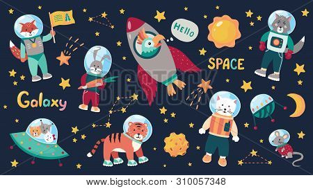 Space Animal Kids. Cartoon Baby Astronauts With Stars And Planets And Spaceships. Vector Doodle Anim