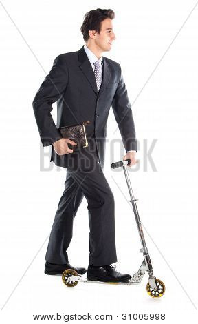 Businessman on scooter