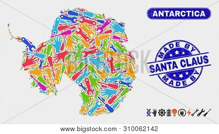 Production Antarctica Continent Map And Blue Made By Santa Claus Textured Seal. Colored Vector Antar