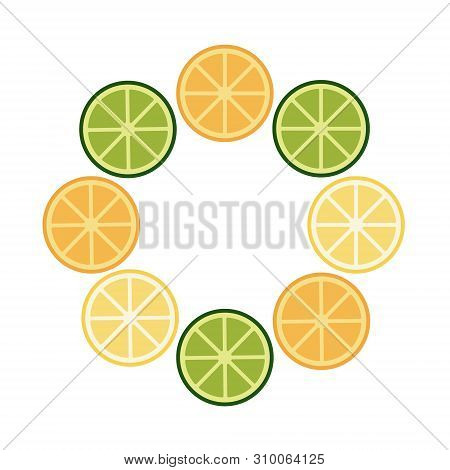 Round Frame Of Lime, Orange, Lemon. Summer Exotic Food In Flat Style