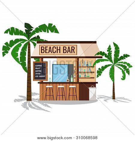 Wooden Beach Bar With Palms Tree, Chair, Trashcan With Shadows Isolated On White Background.