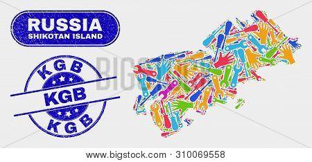 Constructor Shikotan Island Map And Blue Kgb Distress Seal. Bright Vector Shikotan Island Map Mosaic