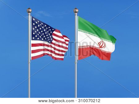 United States Of America Vs Iran. Thick Colored Silky Flags Of America And Iran. 3d Illustration On