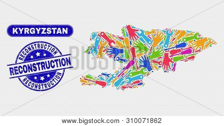 Constructor Kyrgyzstan Map And Blue Reconstruction Grunge Seal. Colorful Vector Kyrgyzstan Map Mosai