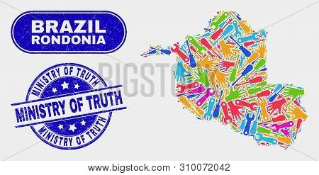 Constructor Rondonia State Map And Blue Ministry Of Truth Distress Seal Stamp. Colorful Vector Rondo