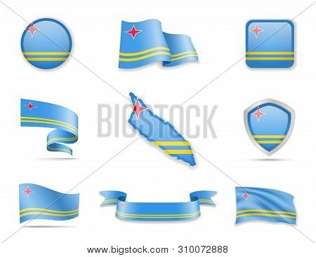 Aruba Flags Collection. Flags And Outline Of The Country Vector Illustration Set