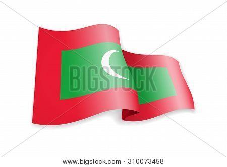 Waving Maldives Flag On White Background. Vector Illustration