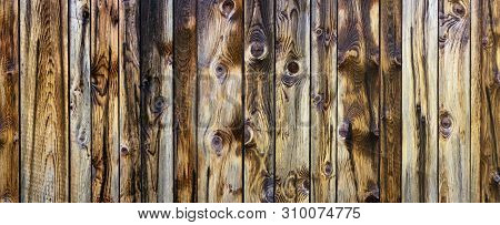 Rustic Quaint Wooden Wall With Intense Pattern - Panoramic