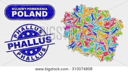 Tools Kujawy-pomerania Province Map And Blue Phallus Textured Seal. Colorful Vector Kujawy-pomerania