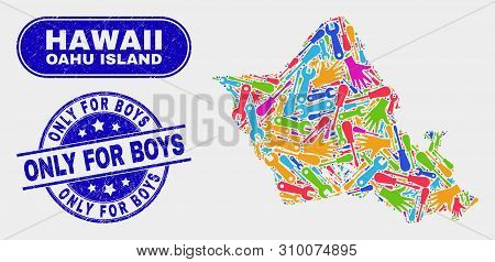 Construction Oahu Island Map And Blue Only For Boys Scratched Seal Stamp. Colorful Vector Oahu Islan